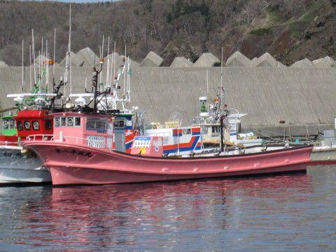 ウトロ漁港に浮かぶ第八平成丸